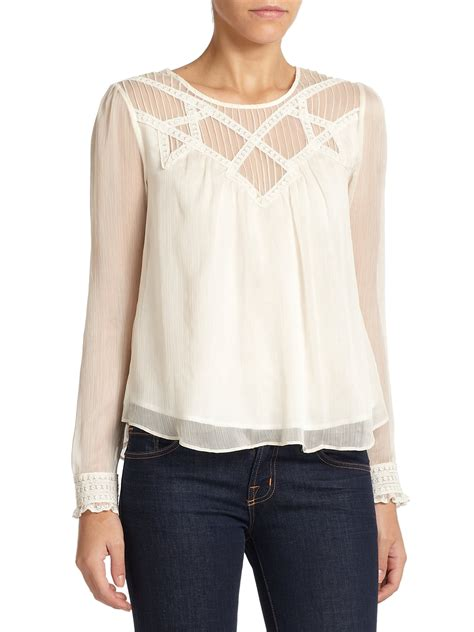 lace blouse beyond vintage lace trimmed chiffon blouse in white lyst