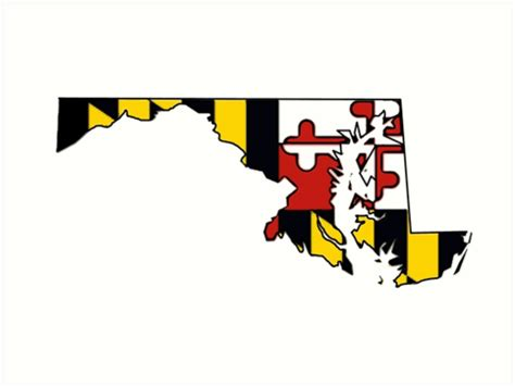"""Suitable for apparel, scrapbooks, and many more. """"Maryland flag state outline """" Art Prints by ..."""