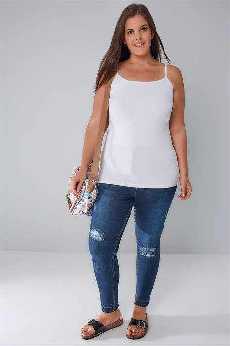 White Cami Vest Top Plus Size 16 To 36