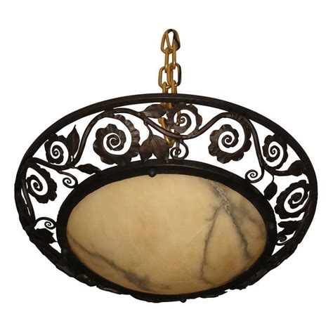 wrought iron and alabaster ceiling light at 1stdibs