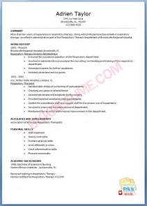 respiratory therapy student resume sle resume respiratory therapist sle resume