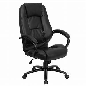 Multi-function, Leather, High-back, Office, Chair, With, Waterfall, Seat, Black, -, Walmart, Com