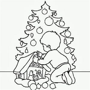 bambino con albero e presepe disegno di natale da colorare disegni da colorare e stampare