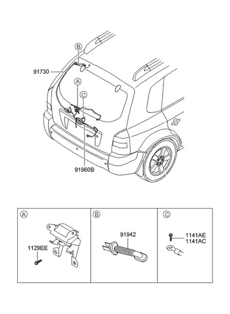 Hyundai Tucson Trunk Lid Wiring Parts Deal