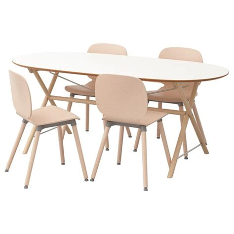 slahult svenbertil dining table and chairs white birch 185