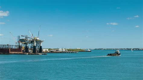Fishing Boat Jobs Galveston by Port Of Galveston Tx Oil Rig In The Background And Boat In