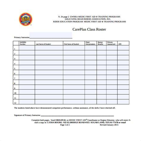 class roster template 8 class roster templates sle templates