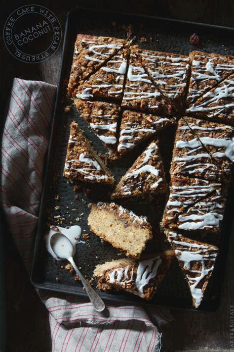 banana coconut coffee cake with pecan streusel