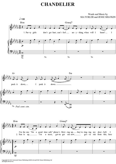 Chandelier Sia Piano Sheet by Quot Chandelier Quot Sia Sheet Www Onlinesheetmusic