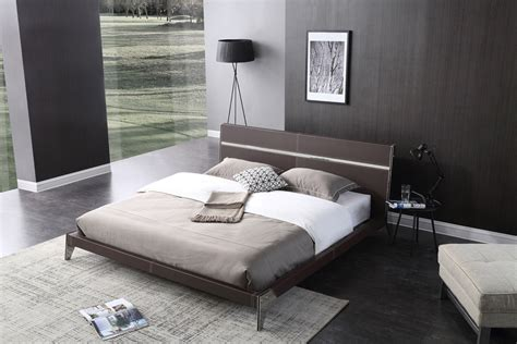 leather bedroom set nova domus ria contemporary brown eco leather stainless 12067 | bd a001 ria bedroom set