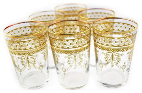 Mini Berber Tea Glasses, Set of 6, Gold Eclectic Teacups by Moroccan Prestige