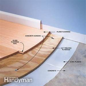 Installing wood flooring over concrete the family handyman for How to put down hardwood floors on concrete