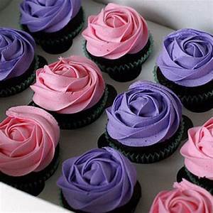 Pink and Purple Rose Chocolate Cupcakes | Pink and purple ...