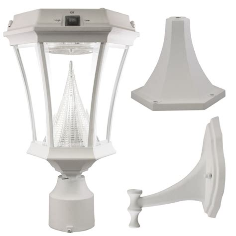 gama sonic white solar post mount wall mount