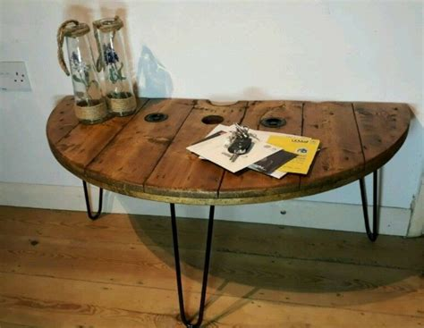 Each table has a small shelf on the left side. WonkyDonk semi circle half moon upcycled coffee table | in Cheltenham, Gloucestershire | Gumtree