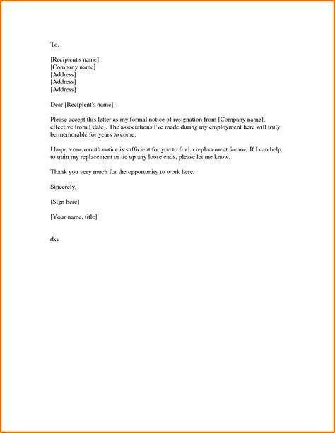 formal resignation letter sample  notice period task