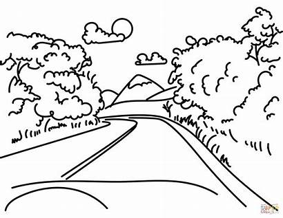 Coloring Mountain Pages Road Mountains Drawing Printable