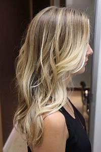 Long blonde wavy hair girl dip dyed ends dirty blonde ...