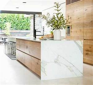 Plan De Travail Effet Marbre : cuisine design avec marbre ouverte sur grande verri re ~ Preciouscoupons.com Idées de Décoration