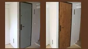 peindre une porte en faux bois facon noyer With repeindre porte en bois