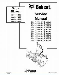 Bobcat 1412  1812  2118  2418 Snowblower Service Repair