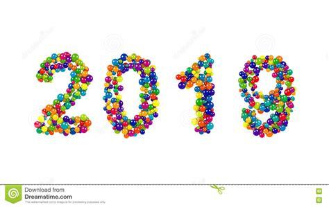 Date De La Nouvelle Année 2019 Dans Un Modèle Coloré De