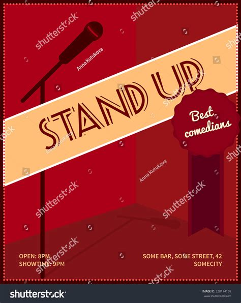 Stand Up Events by Stand Up Comedy Event Poster Retro Style Vector