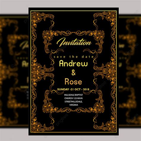 Black Vintage Wedding Invitation Card Template Psd File