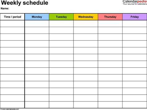 Word Template Weekly Calendar Costumepartyrun