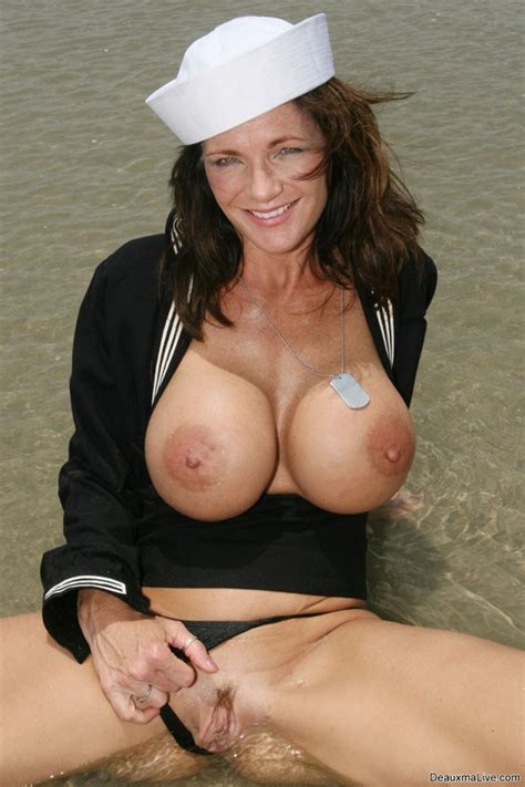 Busty Milf Deauxma Plays With Her Boobs On A Beach