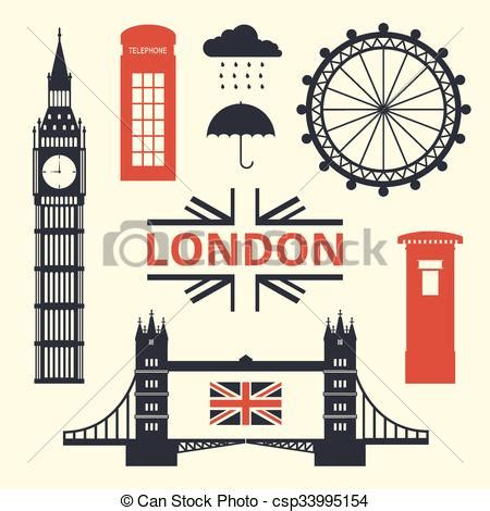 vector illustration  london symbols flat design style