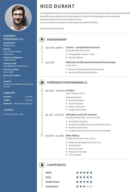 Modele Pour Cv by Exemples De Cv Professionnel 224 T 233 L 233 Charger Cvmaker