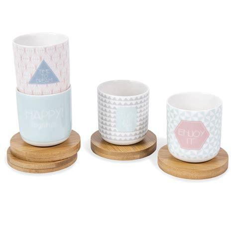 coffret 4 tasses et soucoupes en porcelaine maisons du monde