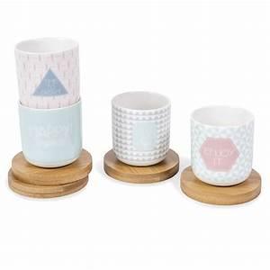 coffret 4 tasses et soucoupes en porcelaine emma maisons With tasse maison du monde