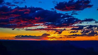 Horizon Sunset Clouds Sky Colorful 4k Background