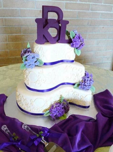 curvy  tier wedding cake  purple letter topperjpg  comment