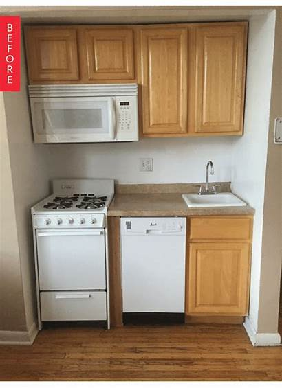 Kitchen Tiny Apartment Basement Budget Kitchenette Before
