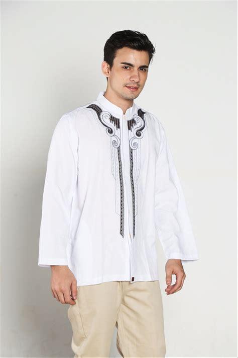 jual fashion muslim pria baju koko warna putih bordir