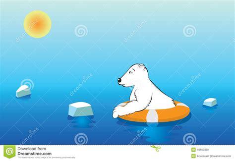 polar bear   lifebuoy stock vector image