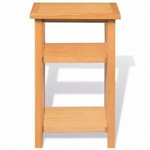 vidaxl solid oak end table 2 shelf magazine rack side With 2 shelf lamp table