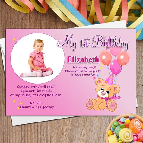 1st Birthday Invitation Card Template Free Download 2018