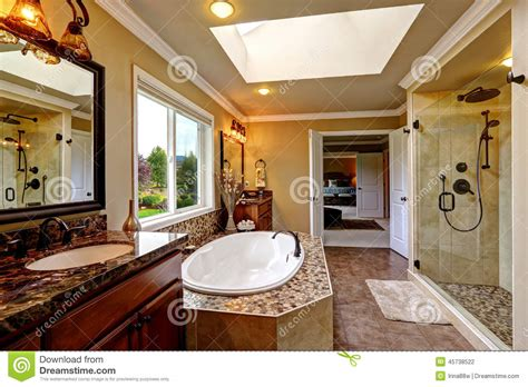 luxury bathroom interior with bath tub and glass door shower stock photo image of tile stock
