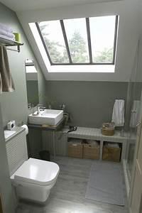 une salle d39eau sous les combles leroy merlin With salle de bain sous pente