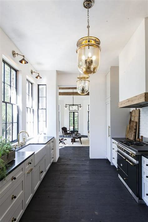 black  white galley style kitchen  mercury glass