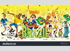 Brazil Football Soccer Abstract Characters Carnival Stock