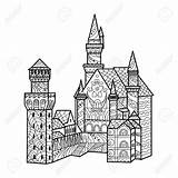 Castle Medieval Drawing Getdrawings Coloring Illustration sketch template