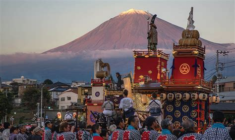 traditional japanese festival  mt fuji glowing