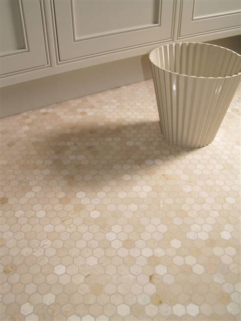 Marble Hexagon Floor Tile Bathroom by Crema Marfil Hexagon Marble Mosaic The Color Of The