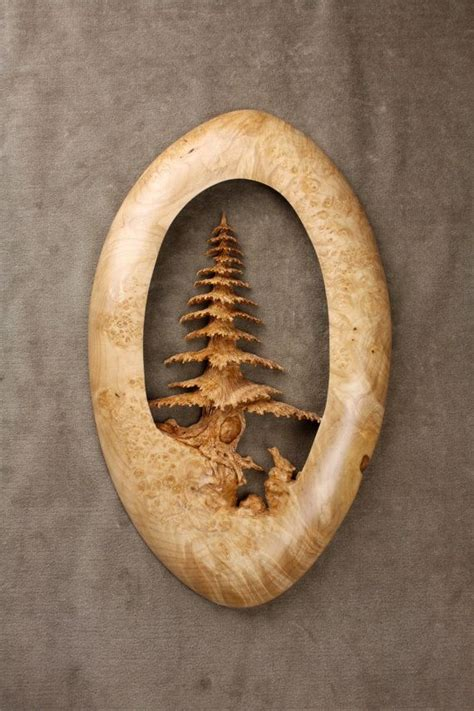 tree wood carving sculpture christmas present carved