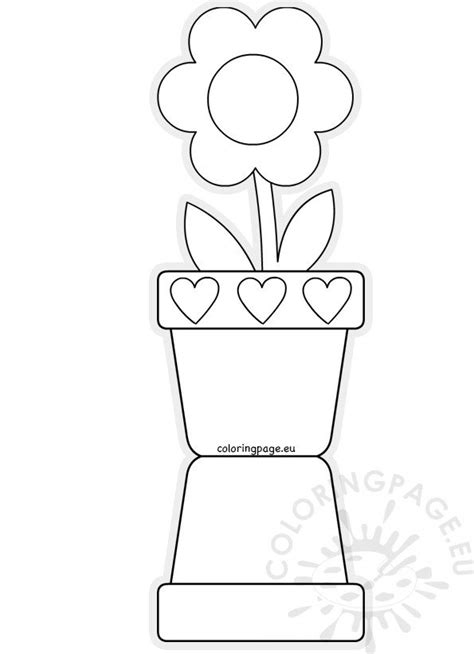 Flower pot shaped card template Mother's Day – Coloring Page
